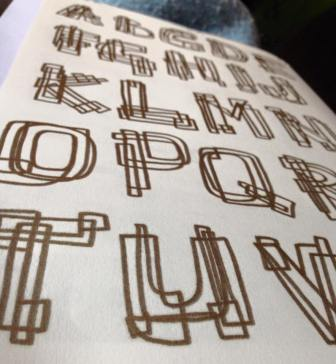 handdrawn gold alphabet