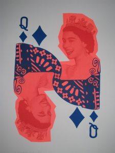 Two-colour screenprint to celebrate Queen Elizabeth's Diamond Jubilee