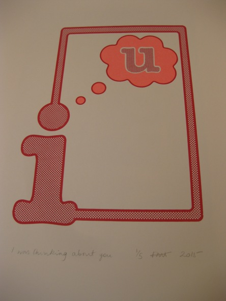 Two colour hand-pulled screen print in red and neon pink, titled I was thinking of U